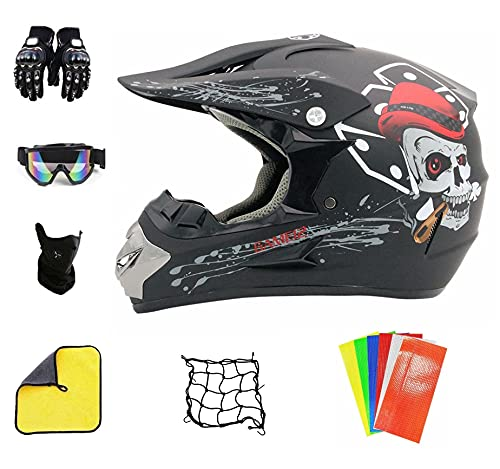 Professionelle Motocross Helm Kinder Dirt Bike Helme Crossbike Helm Pocket Bike Helm Kinder für Quad-Enduro-Rennsport-Sportmotorrad (L (59-60 cm))