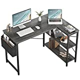 Small L Shaped Computer Desk, Homieasy 47 Inch L-Shaped Corner Desk with Reversible Storage Shelves for Home Office Workstation, Modern Simple Style Writing Desk Table with Storage Bag(Black Oak)
