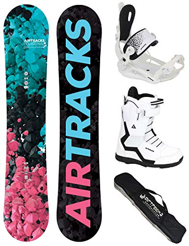 Airtracks Damen Snowboard Set - Board Polygonal 144 - Softbindung Master - Softboots Strong W QL 37 - SB Bag