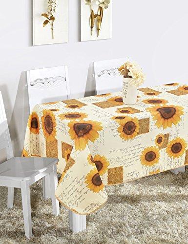 Frenessa Mantel Mesa Rectangular Antimanchas Impermeable, Manteles Estampados para Comedor Cocina Casa Hotel Restaurante, 140x240cm, Girasol