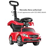 BABLE Push Cars for Toddlers-1 to 3-Year-Old Kids Car Toy (Max 66lbs)-Baby Car with Handle, Push Ride Toy with Safety Bar for Boys or Girls, Benz Toddler Driving Car with 2 Kid Powered Car Horns, Red