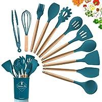 dopgl set di 11 utensili da cucina in silicone, resistenti al calore, con manici in legno, senza bpa, in silicone atossico, spatola, cucchiaio, utensili da cucina per antiaderenti blu scuro