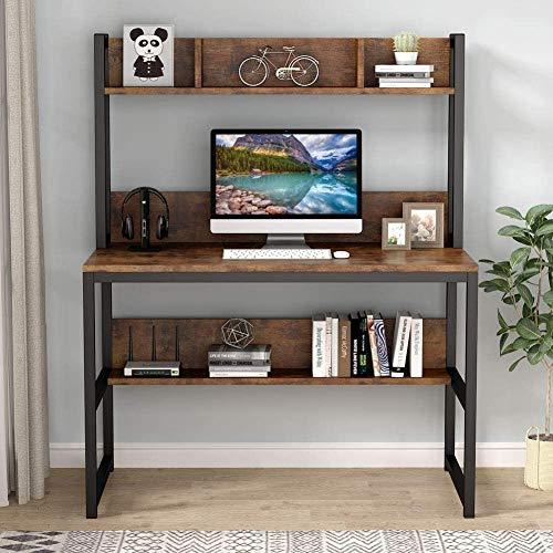 Con utensilios de cocina y estante pequeño, estudio de escritorio de mesa de computadora, con utensilios de cocina y estante de espacio pequeño,Brown