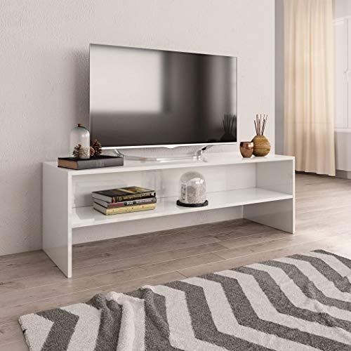 UnfadeMemory Mueble para TV,Mesa para TV,Estante de TV para Salón Dormitorio,Estilo Clásico,con Compartimento Abierto,Madera Aglomerada (Blanco Brillante, 120x40x40cm)