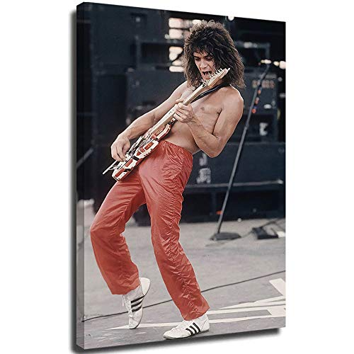 Eddie Van Halen Rock Bands 3D Abstract Canvas Wall Art Hand Painted Painting for Bathroom Bedroom Living Room Home Decor 12'x18'