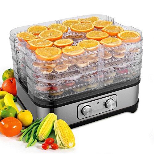 Dörrautomat Dehydrator mit digitaler Temperaturregelung für D.I.Y Gesunde Snacks mit 5 abnehmbaren Dörrgittern BPA-frei (5 Etagen/250W)