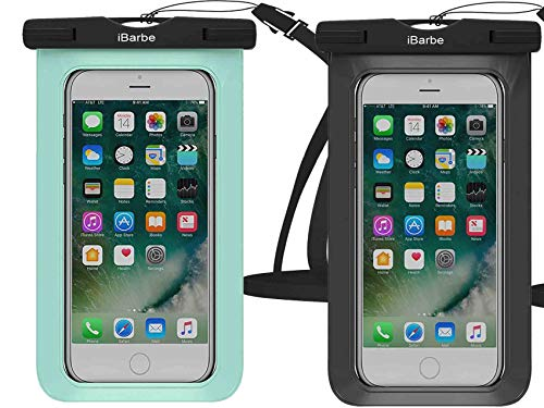 Waterproof Case,2 Pack Universal Cell Phone Dry Bag Pouch Underwater Compatible with iPhone 11 PRO MAX X XR XS MAX 8 Plus 7 7 Plus 6S 6 6S Plus SE Galaxy Note s9 s s8 etc.to 6.5 inch,Blue+White