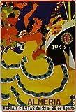Affiche Poster publicitaire de Plaque métallique avec Dessin Retro Vintage de la Catalogne/l'Espagne. Tin Sign. 30 cm x 20 cm (Feria DE ALMERIA 1943)