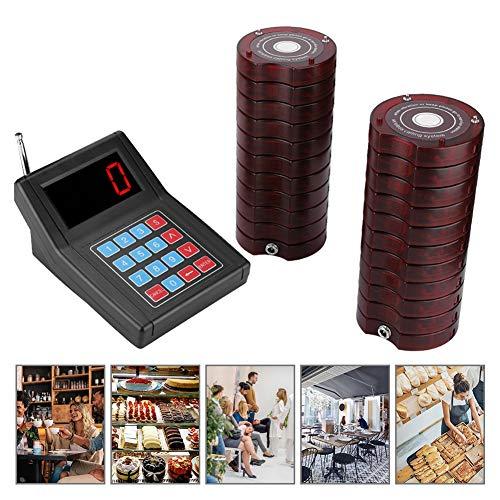 Restaurant Pager System, 20 Pager Wireless Warteschlangensystem Kundenrufsystem mit Vibration/Bienenstich/Licht Anzeigemodi für Restaurant/Cafeteria/Schnellimbiss(20 Pager)