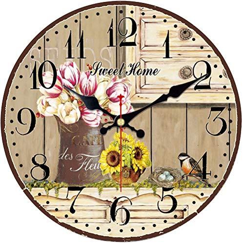 """VIKMARI Quarz Wanduhr Holz Leise Hängende Uhr, Batteriebetriebene Runde Rustikale Uhr, Leicht Zu Lesen Vintage Innenwanduhr 14"""""""