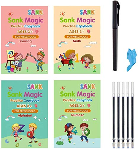 4pcs Magic Practice Copybook for Kids - The Print Handwiriting Workbook-Reusable Writing Practice Book (Alphabet Book with Pen) (Exercise Book One)