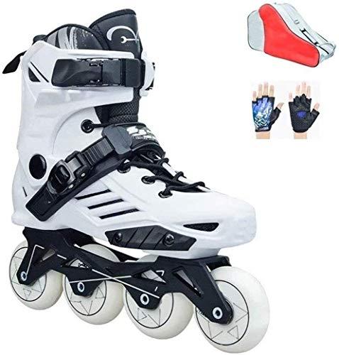 CAIFENG Verstellbare Inline Skates Speed-Inline Skates Semi-Solft Hohe Ankle Roller Schuh Inline Patine for Street Racing Kür Schwarz Weiß, Größe: 36, Farbe: Weiß (Color : White, Size : 37)