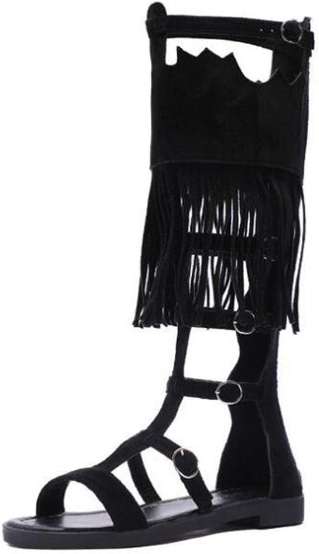 Roman High Tassel Flat Sandals in Summer,Black,39
