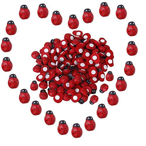 100 Pezzi Coccinelle Adesivo, Piccolo Scarabeo Spugna Adesivo Adesivo Coccinella di Legno, Coccinelle Rosse Adesive Decorative in Legno Decorazioni per Fiori Artificiali Decorazione Scrapbooking