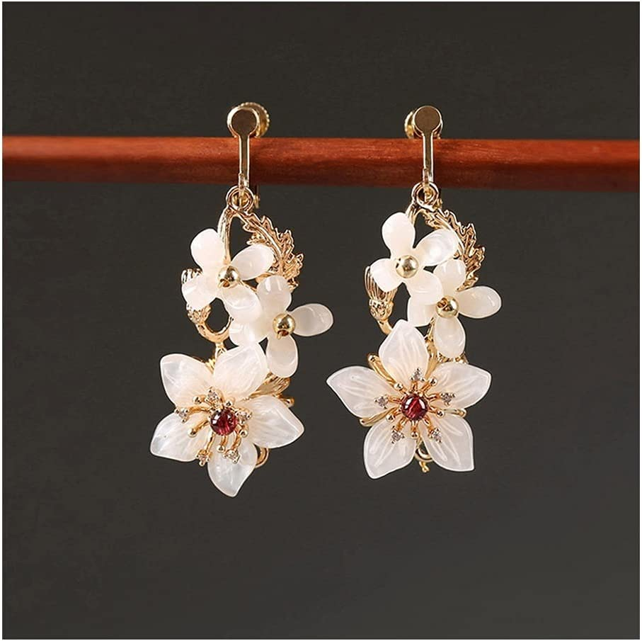 RKL Dangle Earrings Flowers 2021, Vintage National Pink Long Drop Earrings, Clip-on Earring for Friends Birthday Wedding Thanksgiving (Color : Clip-on Earring Gold)