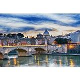 Puzzles Rompecabezas De Madera, Roma Sunset Tiber, Juegos Creativos Juguetes Decoración del Hogar, 500/1000/1500/2000/3000/4000/5000/6000 Piezas 0113 (Size : 6000 Pieces)