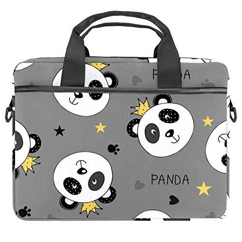 Laptoptasche Umhängetasche Handtasche Aktentasche Krone mit Panda-Gesicht 38.1 x 13.7 cm