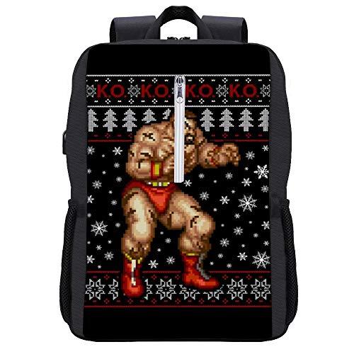 Street Fighter Weihnachten Zangief KO Rucksack Daypack Bookbag Laptop Schultasche mit USB-Ladeanschluss