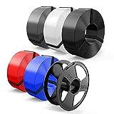Filament PLA 1.75mm, SUNLU PLA Filament Imprimante 3D, Réutilisable Spool, MasterSpool, PLA 5KG, 1kg Spool, Paquet de 5, Noir+Blanc+Gris+Bleu+Rouge