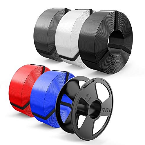 Filamento PLA 1.75mm, SUNLU PLA Filamento Impresora 3D, Reutilizable Spool, MasterSpool, PLA 5KG, 1kg Spool, Paquete de 5, Negro+Blanco+Gris+Azul+Rojo