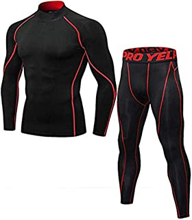 Minghe Men's Compression Base Layer Long Sleeve T-Shirt Leggings Athletic Cool Dry Running Tights