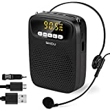 Amplificador de Voz Portatil 15 Vatios Altavoz con Microfono, Profesional Megafono Sistema de PA Bluetooth Voice Amplifier Sistema Multifuncional para Profesores, Promotores, Guia turistico etc