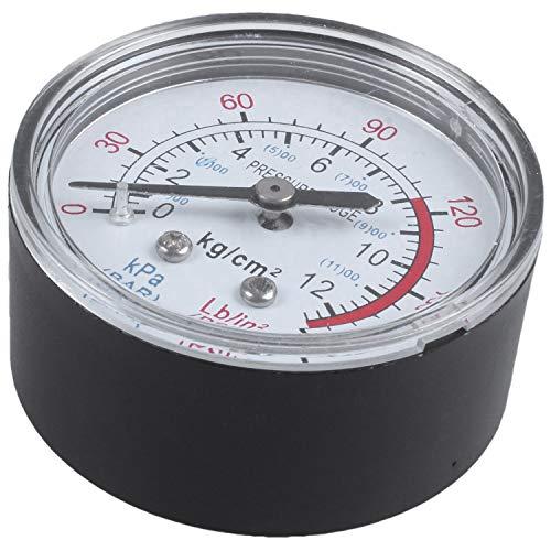 Cikuso Manometre a air de comparateur de cadran rond 0-180 psi 13mm 1 / 4BSP Diametre, Noir