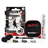 Alpine MusicSafe Pro Music Ear Plugs – Musicians Ear Plugs for Noise Reduction – Concert Earplugs - 3 Noise Reducing Ear Plug Filter Sets - Hypoallergenic Reusable Earplugs, Black