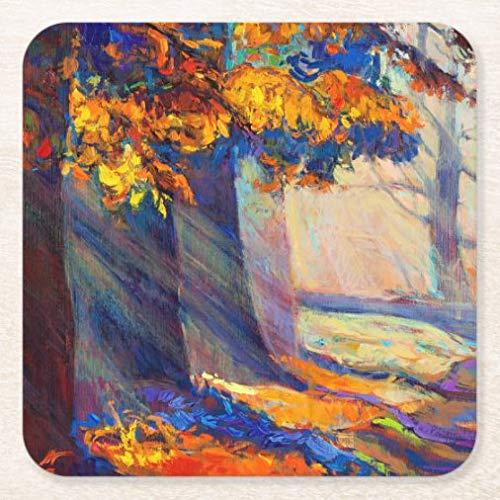 Posavasos de cerámica cuadrado del bosque de otoño