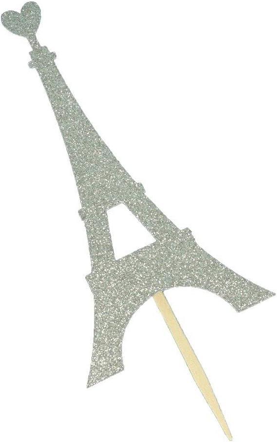 24 Under Ranking TOP3 blast sales Pieces Glitter Eiffel Tower Shape Cupca SRAu Heart Top with