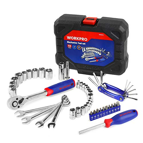 WORKPRO 52-Piece Mechanics Tool Kit, Drive Socket Wrench Set, 3/8-inch Quick-Release Ratchets, with Blow Molded Case, W009087A