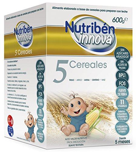 Nutribén Papillas Innova 5 Cereales, Sin aceite de Palma ni azucares añadidos- Alimento Para bebés- Desde Los 5 Meses- 1 unidad 600g