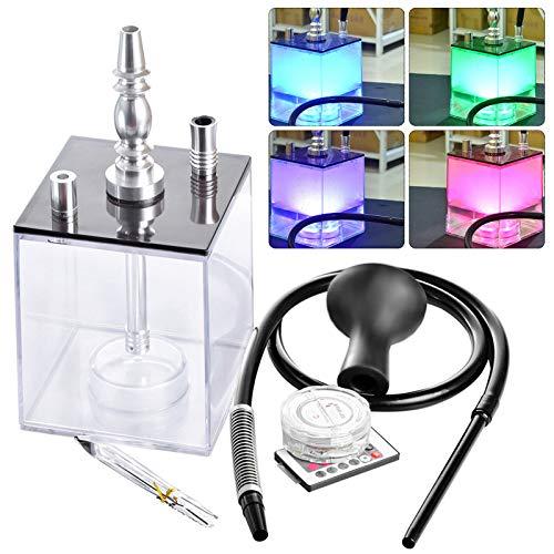 InLoveArts Shisha-Set, LED Shisha 2 Schlauchwürfel-Shisha-Komplettset mit einzigartiger Form und Fernbedienung Bunte LED-Leuchten, leichtes und tragbares Shisha-Set