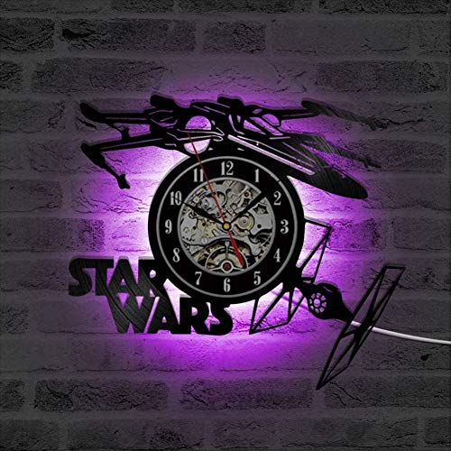 Creative Record Clock Wars Thema Vliegtuigmodel Holle wandklok Vinyl Recordmateriaal Antieke stijl Hangende klok-B