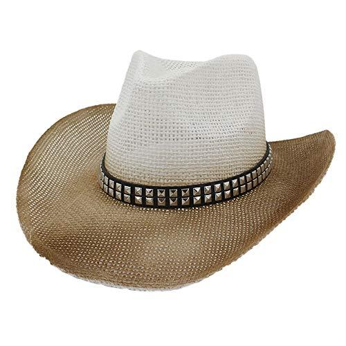 sun hats Outdoor Beach Sun Hat Men Women Spray Paint Straw Western Cowboy Hat Double Row Square Rivet Visor Cowboy (Color : 4, Size : 56-58cm)