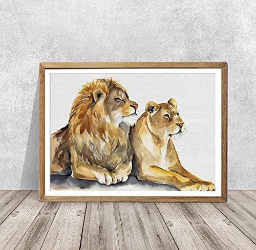 mlpnko DIY Pintar por números león Pintar por Numeros Kits Sin DIY Pintura al óleo para Adultos Niños Principiantes