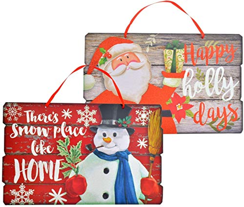 Christmas House Wood Plank Decorative Signs - Set of 2