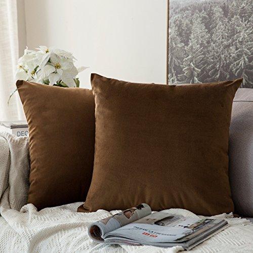 Pack de 2, MIULEE Terciopelo Suave Juego de Mesa de Manta de decoración Cuadrado Fundas de Almohada Funda de cojín para sofá dormitorio18 x 18 Pulgada 45 x 45 cm Marrón Chocolate