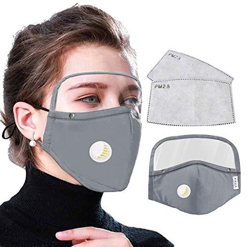 Skang Protector Facial Tela de Algodón con Retirable Gafas Protectoras Sólido con Válvulas de Respiración Filtros de Repuesto de Carbón Activo Unisex