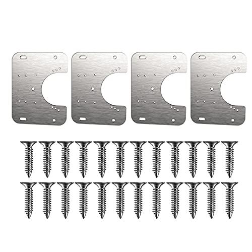 Shuiyuan Placa de montaje de bisagra de 1/2/4 piezas, con tornillos se adapta a vasos de bisagra de diferentes tamaños, fácil montaje oculto bisagra de gabinete