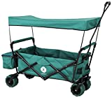 Miweba Faltbarer Bollerwagen MB-10 für Kinder - Bremse - Dach - PU-Breitreifen - Transporttasche - Klappbar - UV-Beständig – Handwagen faltbar (Grün)
