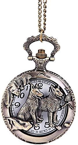 N/ A Taschen-Uhr Unisex Große Retro-Stil Loyal Dog-Taschen-Uhr Kreative Bronze Tier Hund Taschen-Uhr-Weinlese-Taschen-Uhr-Geschnitzte