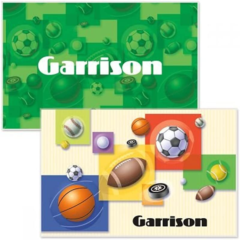 Personalized Kids Sports Placemat 11 X 17 Boys Reversible Place Mat Laminated