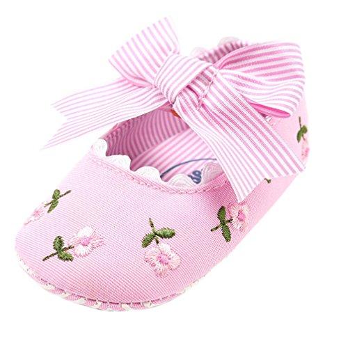 FNKDOR Baby Mädchen Erstlingsschuhe Stickerei Blume Mode Erste Schuhe(6-12 Monate,Pink)
