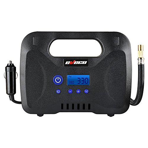 eveco 12V DC 150 psi Portable Tire Inflator Air Compressor Pump with Digital Gauge, Auto Shut-Off, Sure-Fill Technology, and Carrying Bag
