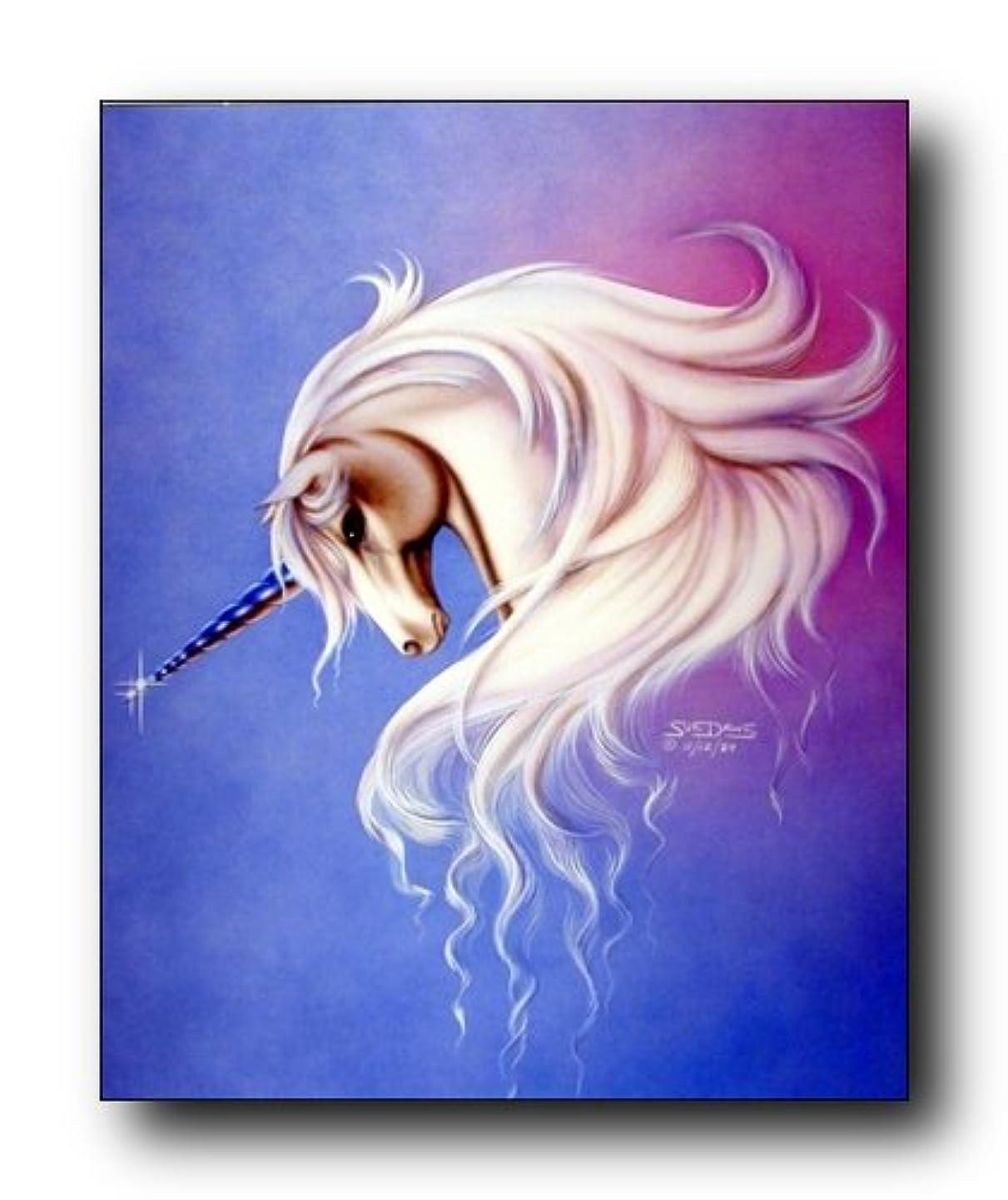 Mythical Lavender Mist Unicorn Sue Dawe Fantasy Home Decor Art Print Poster (16x20) lxyiuhweewf8