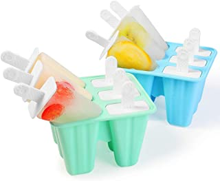 WARMWIND Silicone Ice Pop Mold, BPA Free Popsicle Mold, Reusable Ice Pop Maker, Healthy Popsicles for Kids, Dishwasher Safe, Blue and Green(Set of 2)