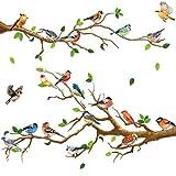4 Pegatinas de Pared de Pájaros en Ramas de Jardín Calcomanías de Pared Extraíbles de Pájaros en Árbol Decoración de Pared de Pelar y Pegar para Niños Guardería Dormitorio Sala de Estar