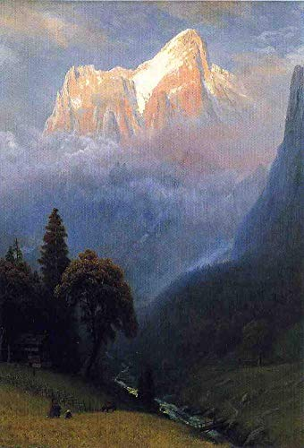 Desconocido 12 Pinturas Famosas - €40-€1000 Pintura al óleo a Mano de Pintores universitarios - Storm Among The Alps Albert Bierstadt Paisaje - Pintado de Lienzo -01