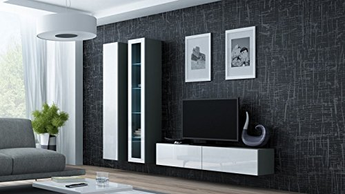 Wohnwand ' Vigo 10' Hochglanz Hängeschrank Lowboard Cube , Farbe:Grau . Weiß
